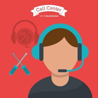 Ayuda técnica del operador de hombre de centro de llamada