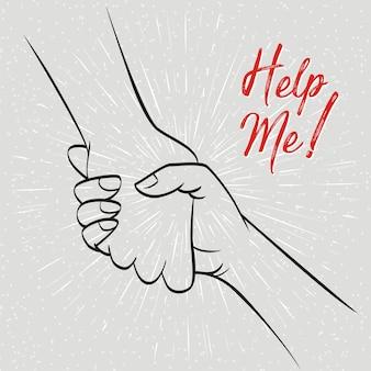 Ayúdame gesto de la mano