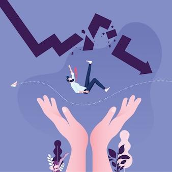 Ayudando a rescatar a empresario cayendo de flecha rota