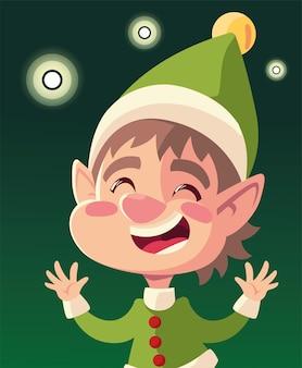 Ayudante feliz de navidad con ilustración de fondo verde de decoración de luces