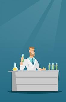 Ayudante de laboratorio en la ilustración de vector de trabajo.