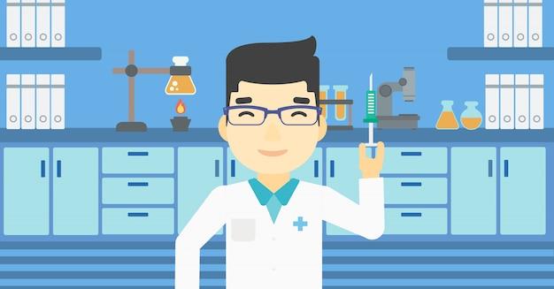Ayudante de laboratorio con jeringa en laboratorio.