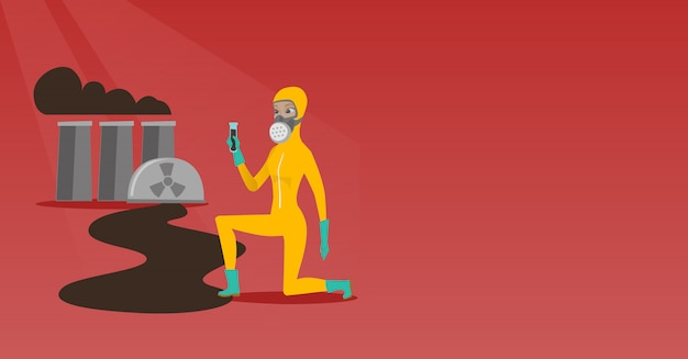 Ayudante de laboratorio con tubo de ensayo.