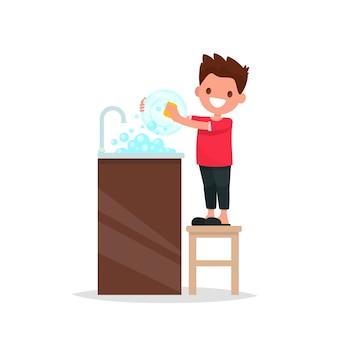 Ayudante de mamá. el niño lava la ilustración de los platos
