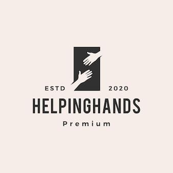 Ayudar a mano logo vintage