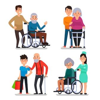 Ayudar a personas mayores con discapacidad.