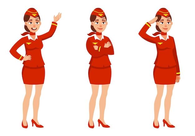 Azafata en diferentes poses. personaje femenino en estilo de dibujos animados.