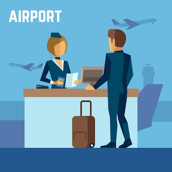 Azafata y pasajero en aeropuerto o azafata en terminal aeropuerto.