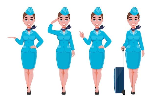 Azafata en uniforme azul conjunto de cuatro poses