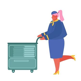 Azafata en uniforme azul que empuja el carro con comidas que sirven a los pasajeros