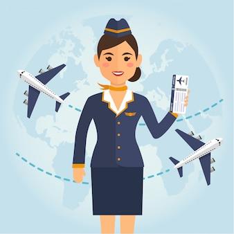 Azafata de uniforme con billetes de avión.