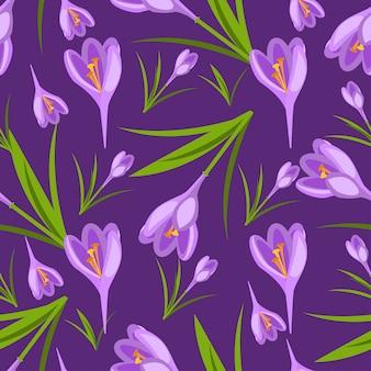 Azafranes púrpuras en el patrón de vector de nieve