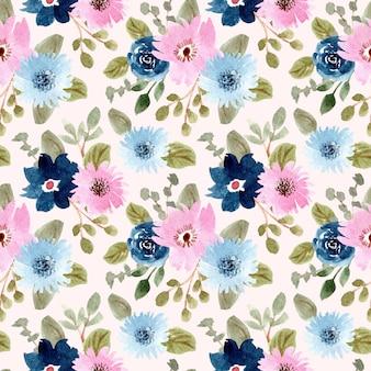 Azul acuarela floral rosa de patrones sin fisuras