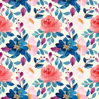 Azul acuarela rosa floral de patrones sin fisuras