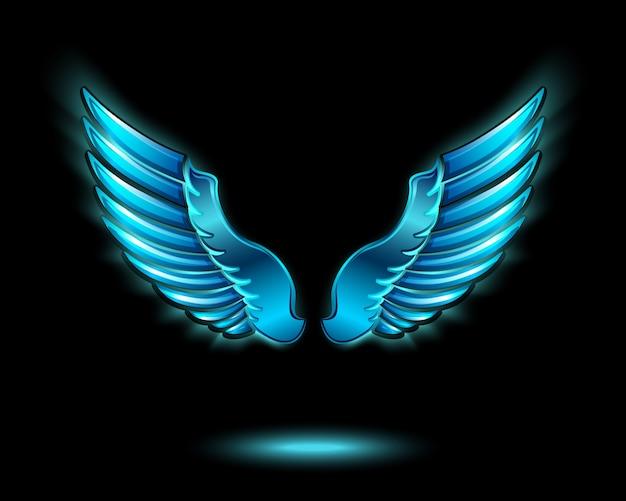 Azul brillante alas de ángel con brillo de metal y símbolo de sombra ilustración vectorial