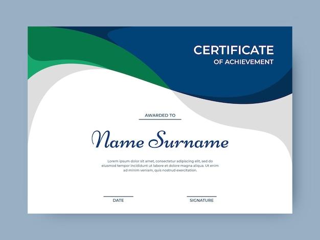 Azul elegante minimalista con plantilla de diseño de vector de certificado de color verde