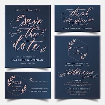 Azul marino y tarjeta de invitación de boda de oro rosa, ahorre la tarjeta de fecha, tarjeta de agradecimiento y rs