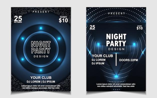 Azul oscuro con brillos noche fiesta de baile música flyer o diseño de póster