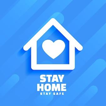 Azul quedarse en casa y diseño de fondo seguro