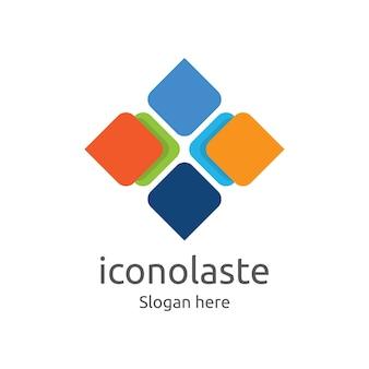 Azulejo cuadrado abstracto plantilla colorida del logotipo del diseño para cualquier uso como negocio, características, marca, identidad del producto