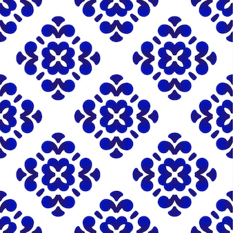 Azulejo decorativo azul y blanco patterb