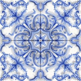 Azulejo o mosaico adorno acuarela.
