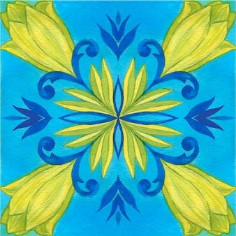 Azulejo de tulipán, patrón sin costuras. ilustración de acuarela. estilo mediterráneo.