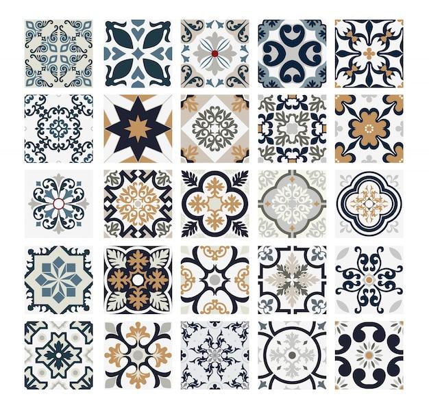 Azulejos patrones portugueses antiguos diseño sin costuras en ilustración vectorial vintage