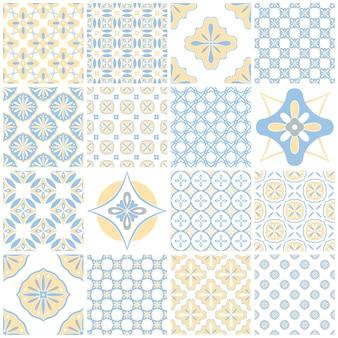 Azulejos portugueses ornamentados tradicionales azulejos. patrón vintage para diseño textil. mosaico geométrico, mayólica. patrones geométricos sin fisuras. fondo decorativo. patrón floral vintage