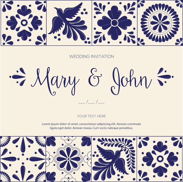 Azulejos de talavera mexicana para invitación de boda