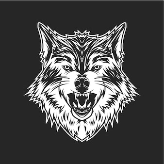 B & w cabeza de lobo