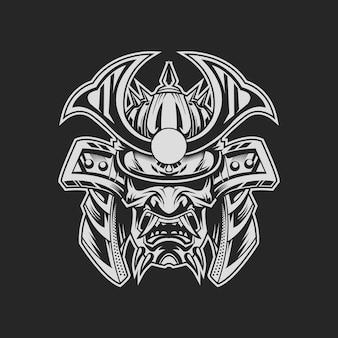B & w cabeza samurai en la oscuridad