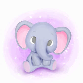 Baby born elephant nursery illustration