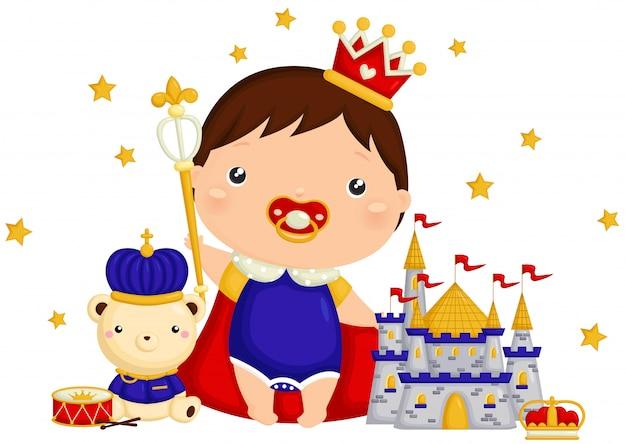 Baby boy prince con bear y little castle