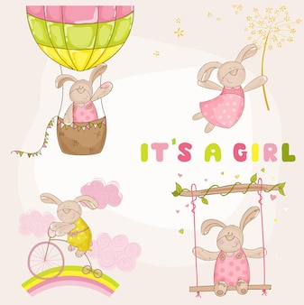 Baby bunny set baby shower o tarjeta de llegada
