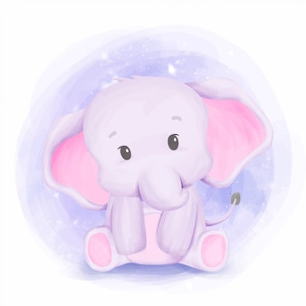 Baby elephant new born nursery arts