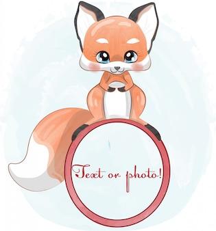 Baby fox en estilo acuarela.