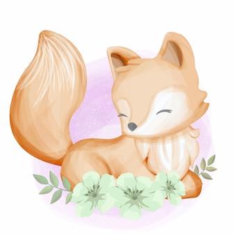 Baby foxy con flores acuarela