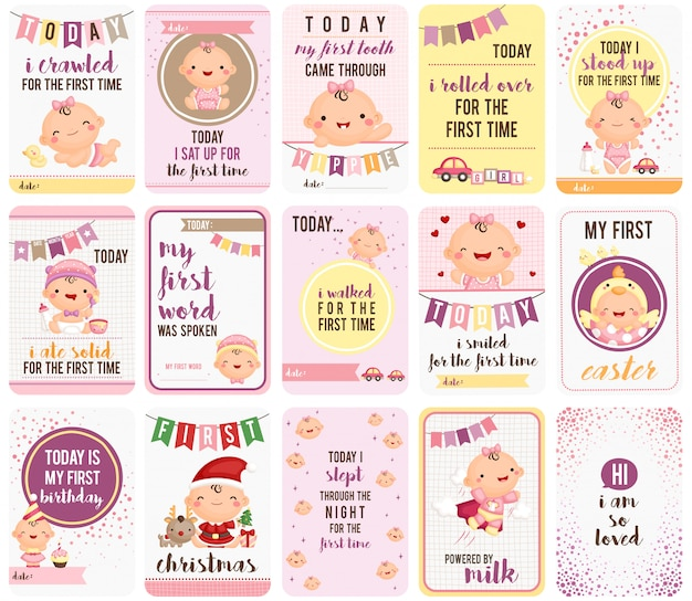 Baby girl stepping stone tarjetas