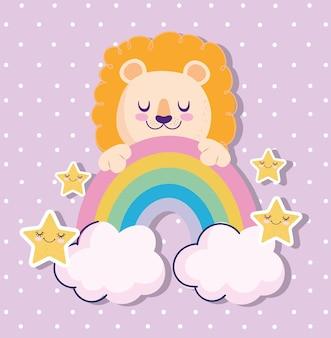 Baby shower adorable león arco iris y estrellas de dibujos animados ilustración vectorial