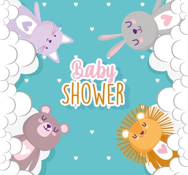 Baby shower, animales lindos con ilustración de vector de celebración de nubes