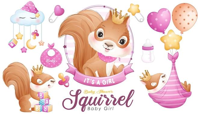 Baby shower de ardilla lindo doodle con conjunto de ilustración acuarela