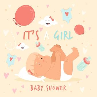 Baby shower con bebé y globos