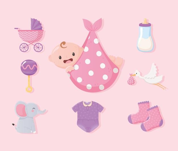 Baby shower, bebé en manta, ropa botella leche elefante y sonajero iconos