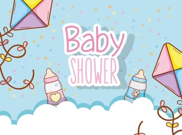 Baby shower con biberón y decoración de cometas.