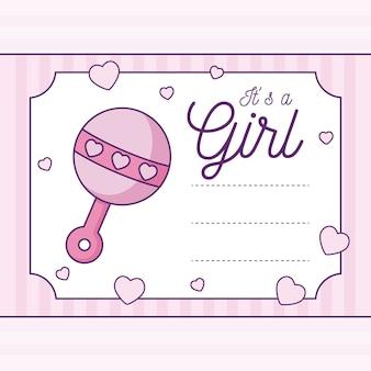 Baby shower card es una niña con sonajero