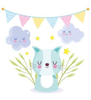Baby shower cat nubes bunting celebración, plantilla de invitación de bienvenida