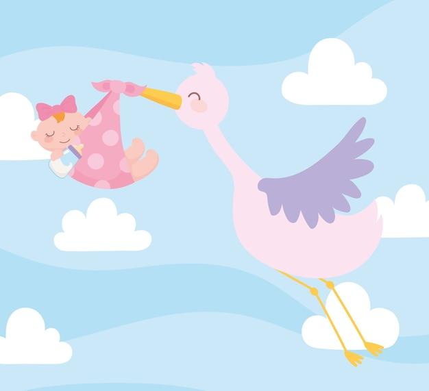 Baby shower, cigüeña con niña en manta, celebración bienvenida recién nacido