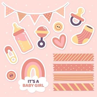 Baby shower conjunto de álbum de recortes femenino