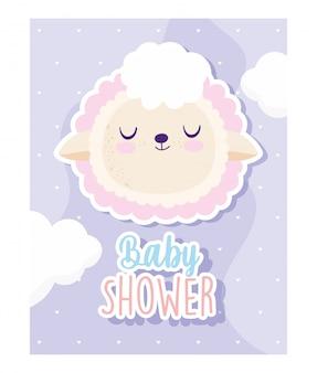 Baby shower, dibujos animados de animales de oveja cabeza linda, tarjeta de invitación de tema